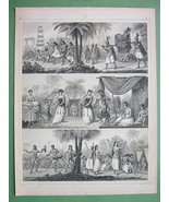 PACIFIC ISLANDS Natives Tonga Australia Aborogines - 1844 Steel Engravin... - $14.85
