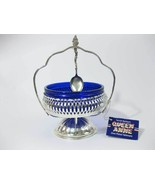 Queen Anne Cobalt Blue Glass Silver Plate Condi... - $25.00