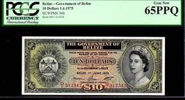 """BELIZE P36b """"QUEEN ELIZABETH II' $10 1975 PCGS 65PPQ - $3,450.00"""