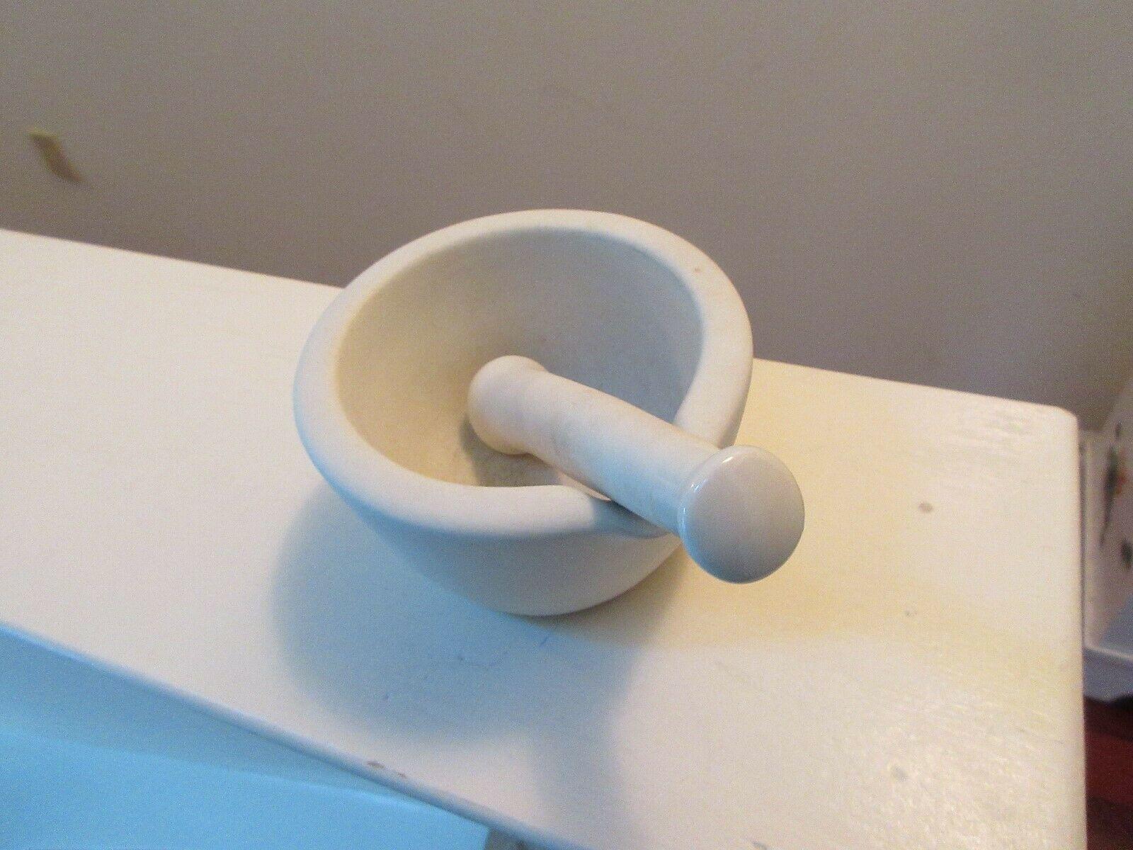 "White Ceramic Mortar Pestle Set 5"" Diameter With Slot , #1 Mortar  #B Pestle  image 3"