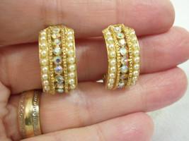 Faux PEARL AB Rhinestone Half HOOP Clip Earrings Aurora Borealis Vintage... - $14.84