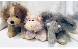 "3 Ganz Webkinz Soft Stringy Plush Animals Farm Pig - Dog -Elephant 8"" - $19.10"