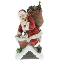Santa Claus Climbing Down Chimney with Presents Resin Stoneware Christma... - $56.58