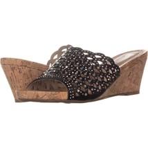 White Mountain Amal Wedge Slide Sandals 106, Black, 8.5 US - $29.75