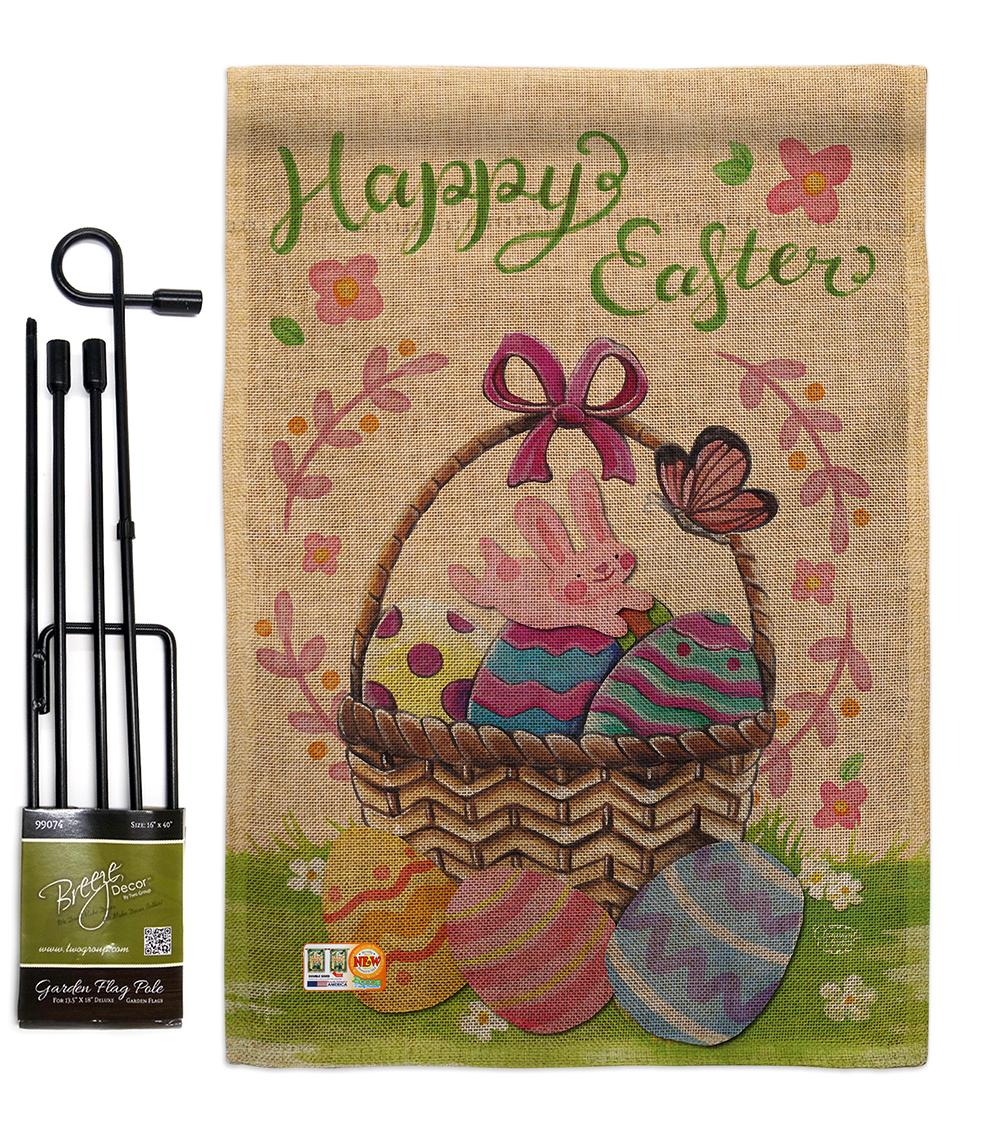 Happy Easter Colourful Basket Eggs Burlap - Impressions Decorative Metal Garden  - $33.97