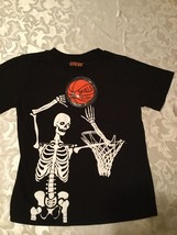Boys -  4T - Strobe- skeleton playing basketball-black - shirt  - $9.25