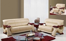 Global Furniture U2033 Modern Design Cappuccino Bonded Leather Sofa Set ... - $35.898,92 MXN