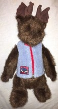 "1998 Boyds Bears 14"" Plush Moose in Zip Up Blue Fleece Vest Mitten Patch - $14.84"