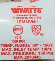 Watts Thermostatic Mixing Valve Threaded 3/4 Inch LFMMVM1 UT image 5