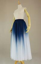Women Blue White Dye Tulle Skirt A-line Tie Dye Long Tulle Skirt Evening Skirts  image 8