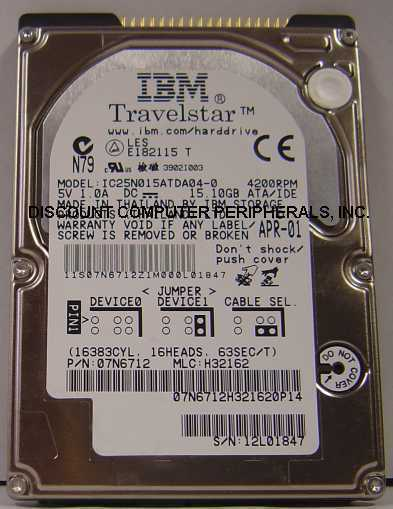 "IC25N015ATDA04-0 IBM 15GB 2.5"" IDE HDD Tested Good Free US Ship Our Drives Work"