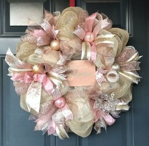 Rose gold Christmas wreath, whimsical wreath, rose gold wreath, gold chr... - $83.79