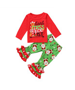 Kids clothes 2Pc Christmas Toddler Girls Xmas top Pants Outfit Naughty &... - $19.99