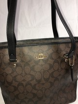 COACH Signature Zip Top Tote, Shoulder Bag, Purse, Brown & Black, F34603... - $159.99