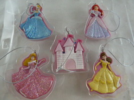 """Disney Princess Christmas Tree Ornaments Set of 5 Unused 2"""" Tall Hard Plastic - $12.86"""