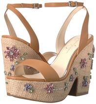 Jessica Simpson Cressia Raffia Rhinestone Flowers Ornament Sandals, Multi Sizes  - $79.96