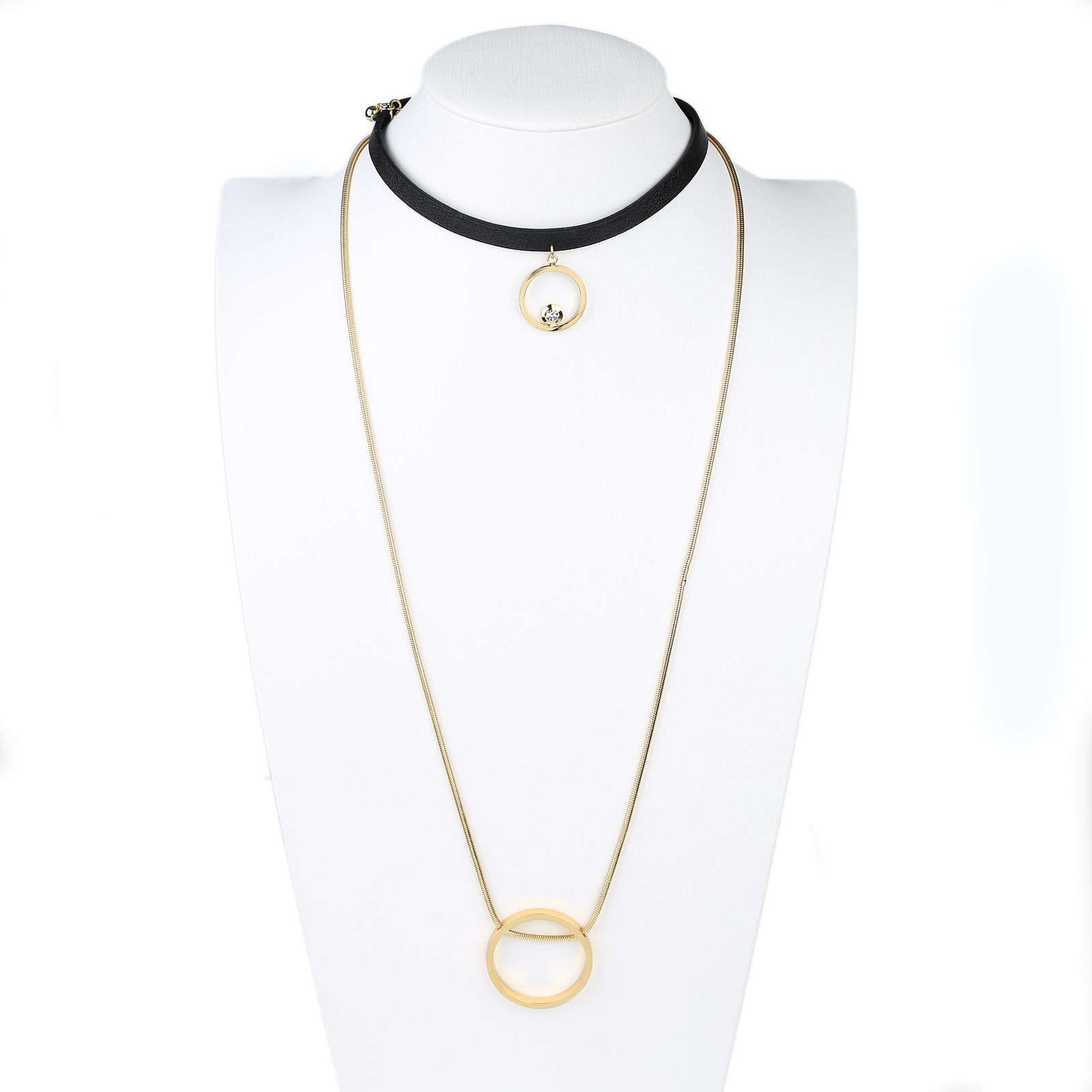 Primary image for UE- Black & Gold Tone Designer Choker Necklace Combination With Circle Pendants