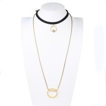 UE- Black & Gold Tone Designer Choker Necklace Combination With Circle P... - $22.99