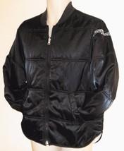 FILA Puffer Jacket Coat Mens Black Gray M Reversible Logo Distressed Collar - $14.99