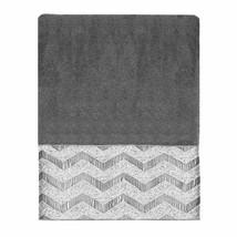 "Avanti Chevron Hand Towel Embroidered Nickel Gray Guest Bathroom 30x16""  - $32.55"