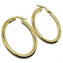 18K YELLOW GOLD CIRCLE HOOPS 3x1mm, EARRINGS 30mm, DOUBLE FACE SMOOTH & SATIN image 4