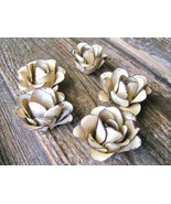 FIVE medium metal Beige rose flowers for accents, embellishments, crafting - $24.98