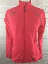 Adidas Womens Windbreaker Jacket Sz Small Pink Black Stripe Light Reflective     - $29.69