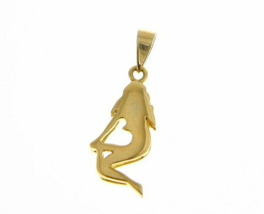 SOLID 18K YELLOW GOLD ZODIAC SIGN PENDANT, ZODIACAL CHARM, VIRGO MADE IN ITALY