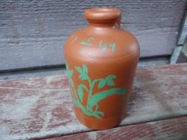 Vintage UPSALA EKEBY Mini Redware Pottery Jug w Painted Message dated 1944 - $49.50