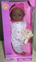 """Baby Boutique Baby Doll 14"""" AA Doll in Sleeper with toy plush teddy bear... - $16.88"""