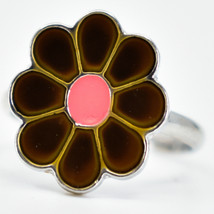 Kid's Fashion Silver Tone Daisy Color Changing Fashion Adjustable Mood Ring