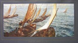 ITALIAN FISHERMEN Leaving for Sea Sailboats  - COLOR Antique Print - $13.77