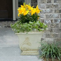 Planter Cast Stone Square Tapered Lightweight Weather Resistant Outdoor ... - $88.02 CAD