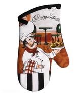 FAT CHEF OVEN MITT Large Potholder Italian Cook Black Trim Ristorante Bistro - $7.99