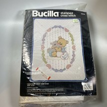 "Bucilla Stamped Cross Stitch #40448 Sweetheart Bear Crib Cover 31x42"" 1990 NOS - $39.99"