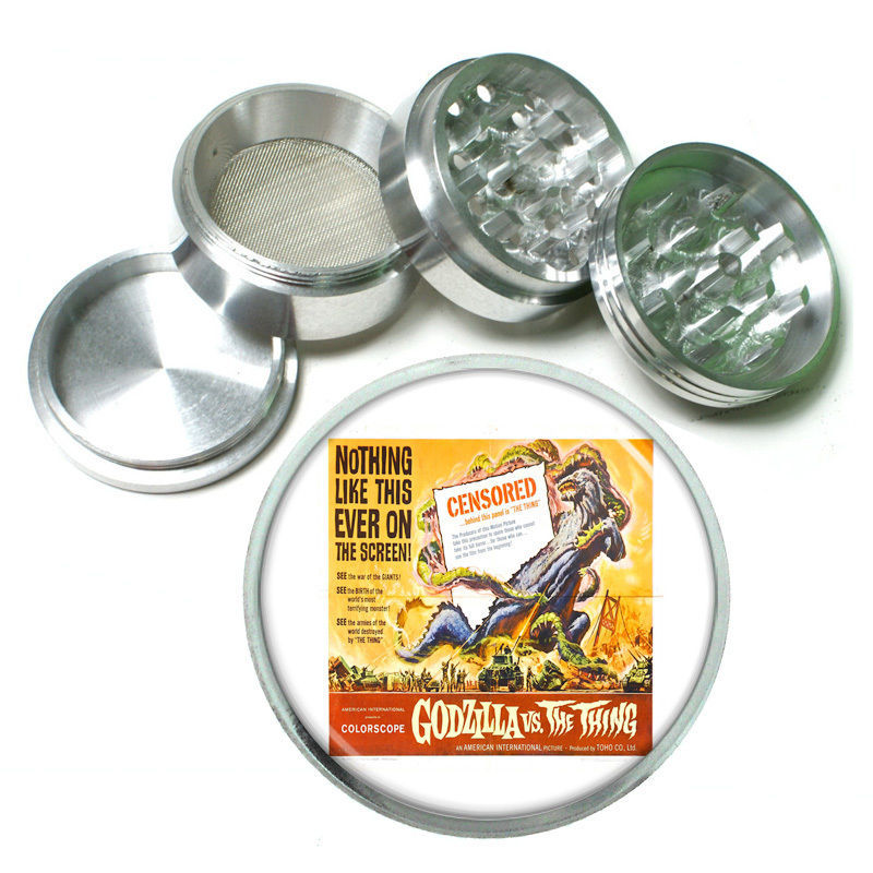 "Primary image for Vintage Poster D152 Aluminum Herb Grinder 2.5"" 63mm 4 Piece Godzilla vs Thing"