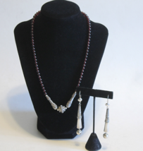 Vintage Amethyst Round Bead Etruscan Sterling Necklace & Earrings - $110.00