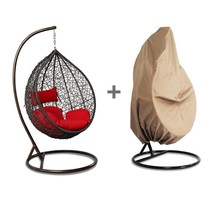 Outdoor Wicker Hanging Hammock W/Stand Proch Swing Chair Red Cushion Fre... - $598.98