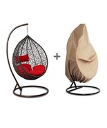Outdoor Wicker Hanging Hammock W/Stand Proch Swing Chair Red Cushion Fre... - $539.08