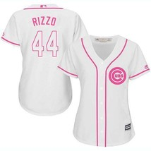 Women's Chicago Cubs #44 Anthony Rizzo Jersey White Pink Fashion MLB New - $45.99