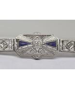 Antique 14k White Gold Filigree Diamond and Sapphire Bracelet with Plati... - $720.00