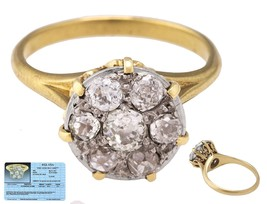 Vintage Art Deco 14K Yellow Gold 0.82ctw G-H SI2-I1 Diamond Cluster Ring... - $929.29