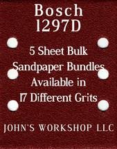 Bosch 1297D - 1/4 Sheet - 17 Grits - No-Slip - 5 Sandpaper Bulk Bundles - $7.14