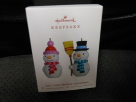 "Hallmark Keepsake ""Salt & Pepper Snowmen"" 2018 Set of 2 Limit Ed Ornamen... - $6.68"