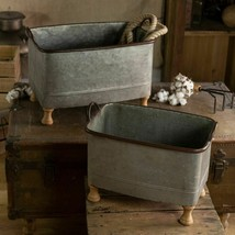 Set of 2 Metal Tubs with Wooden Feet Decorative Storage Buckets Planters - $165.95