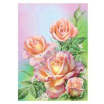 (03)DIY 5D Diamond Embroidery Painting Pink Rose Flower Painting Cross S... - $20.00