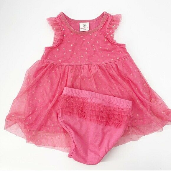Primary image for Hanna Andersson Dress Sz 70 (6-12 Months) Pink Tulle Gold Star Ruffle Baby Girl
