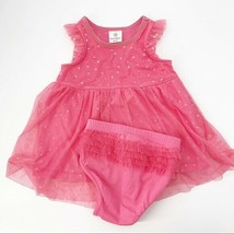 Hanna Andersson Dress Sz 70 (6-12 Months) Pink Tulle Gold Star Ruffle Ba... - $19.27