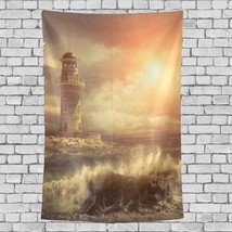 Art Hanging Wall Beautiful Lighthouse Landscape Pattern Tapestry Wall Wh... - $26.00