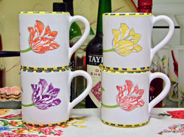 Majilly Tulip Hand Painted Italy Mugs Set Of Four Complete - $58.41